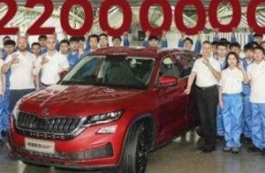 С конвейера компании Шкода сошел 22-миллионный автомобиль – красный Skoda Kodiaq GT